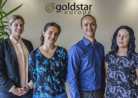 Les dernières recrues Goldstar (de gauche à droite) : Jasmine Mortimer, Valeria Kunakova, Alfred Balcaen et Niamh Gargan.